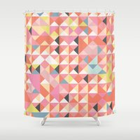 Geo Coral Shower Curtain