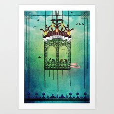 travelling with elephants Art Print