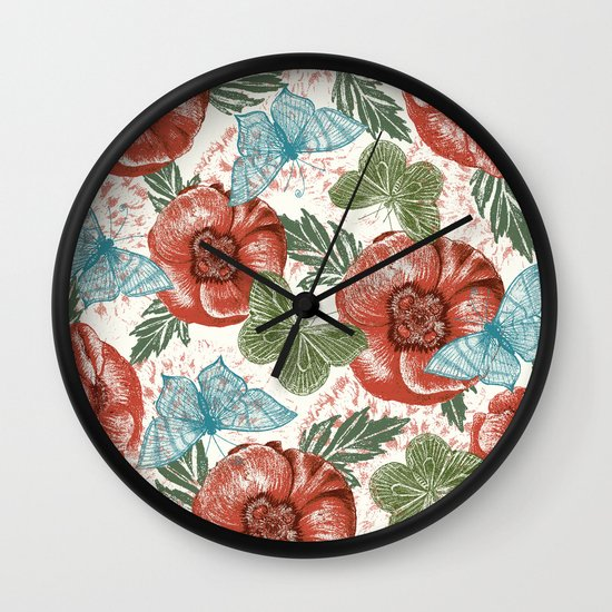 Poppies and Butterflies Pattern Wall Clock