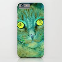 iPhone & iPod Case featuring Cat with Yellow Eyes by Cat Kitsch