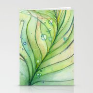 Green Watercolor Feather… Stationery Cards