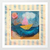 Little boat sailing Art Print