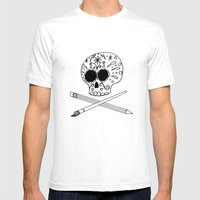 Ink Skull Mens Fitted Tee White SMALL