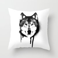 Wolf spray paint Throw Pillow
