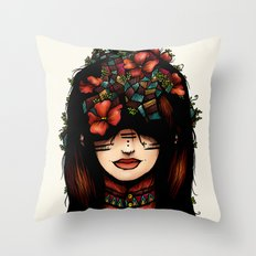 The girl who was thinking about geometry & red flowers Throw Pillow