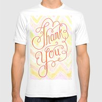 Thank You - Hand Lettere… Mens Fitted Tee White SMALL