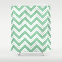 Mint Chevron Shower Curtain