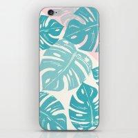 Linocut Monstera Rosy iPhone & iPod Skin