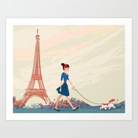An Afternoon Stroll In P… Art Print