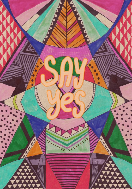 SAY YES Abstract 90's rave pattern Art Print