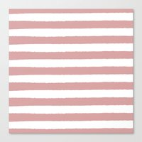 Mauve and white stripes - classy college student collection Canvas Print