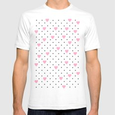 Pin Point Hearts Pink Mens Fitted Tee SMALL White