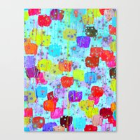 SPECKLE ME DOTTY - Bright Polka Dot Cheerful Aqua Turquoise Blue Rainbow Fine Art Abstract Painting Canvas Print