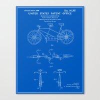 Tandem Bicycle Patent - Blueprint Canvas Print