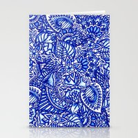 Modern Blue Handdrawn Wa… Stationery Cards