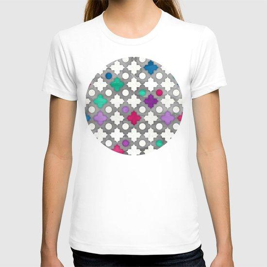 Color Pop Moroccan in fuchsia, purple, emerald green, grey & white. T-shirt