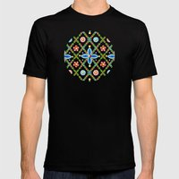 Millefiori Heraldic Lattice Mens Fitted Tee Black SMALL