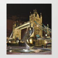 Tower Bridge with the Girl and a Dolphin Fountain, London. Canvas Print