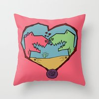 DINO LOVE  Throw Pillow