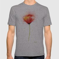 Poppy Flower Watercolor Abstract Red Floral Painting Mens Fitted Tee Athletic Grey SMALL