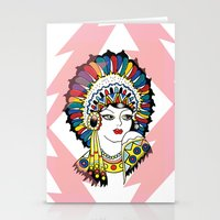 Traditional Tattoo Woman Stationery Cards