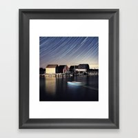 Star Trails at Blue Rocks Framed Art Print