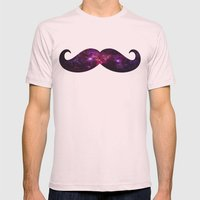 Space Mustache Mens Fitted Tee Light Pink SMALL