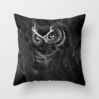 Owl Aflame Throw Pillow