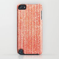 iPod Touch Cases featuring Stockinette Orange by Elisa Sandoval