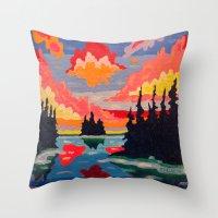 Northern Sunset Surreal  Throw Pillow