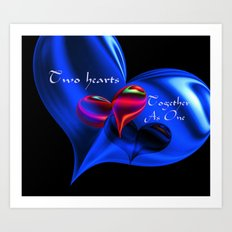 Two Hearts Together As One Art Print