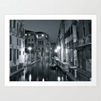 Venezia di notte Art Print