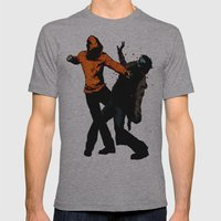 Zombie Fist Fight! Mens Fitted Tee Athletic Grey SMALL