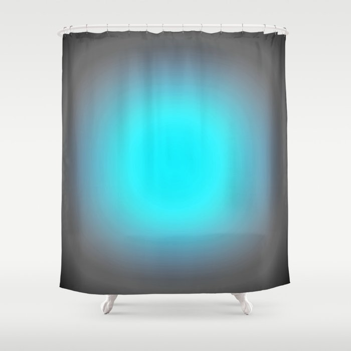 Turquoise Aqua Blue Amp Gray Focus Shower Curtain By