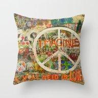 Peace Sign - Love - Graf… Throw Pillow