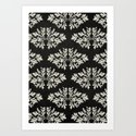 Foliage Black Art Print