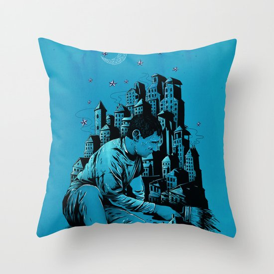 The Village Painter Throw Pillow
