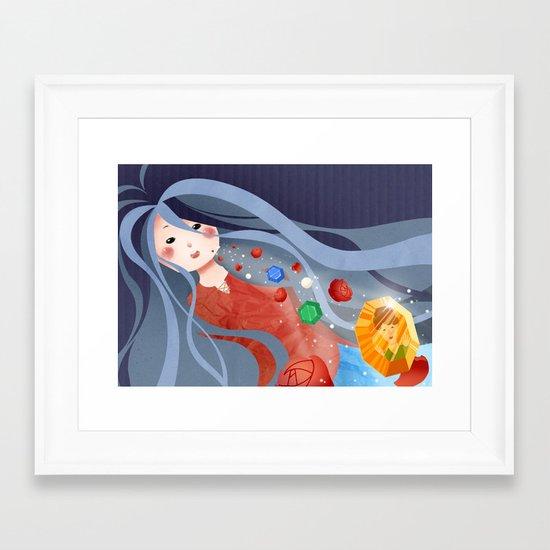 A flower and a precious stone Framed Art Print