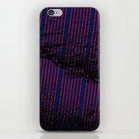 Red stripes on bold blue illustration. iPhone & iPod Skin