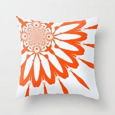 White & Orange Modern Flower Throw Pillow