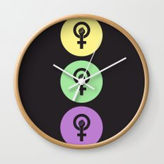 Feminist Power Fist, Tri-Colour Wall Clock