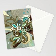 Floral curves of Joy, olive Stationery Cards