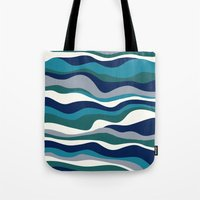 Cordillera Stripe: Teal Navy Combo Tote Bag
