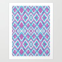 Aqua Berry Ikat Art Print