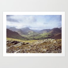 View of mountains on a sunny day. Cumbria, UK. (Shot on film). Art Print
