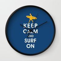 Keep Calm And Surf On (S… Wall Clock