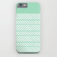 Herringbone Mint Boarder iPhone 6 Slim Case