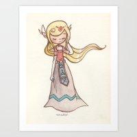 zelda Art Prints featuring Zelda by malipi