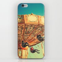 Vintage Chain Swing Ride on Blue Sky  iPhone & iPod Skin