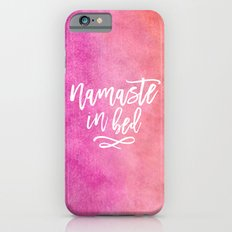Pink Namaste in Bed Quote iPhone 6 Slim Case